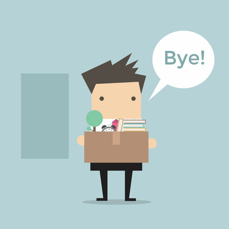 job recruitment: Businessman Leaving Job vector Illustration