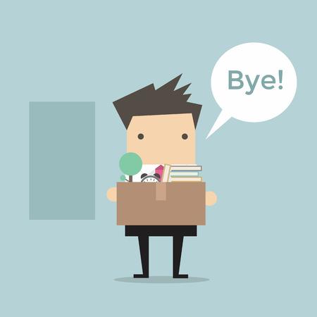 leaving: Zakenman laat Job vector Stock Illustratie