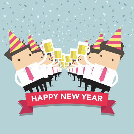 cheers: Businessman happy newyear party vector Illustration