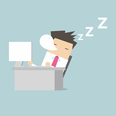 sleepy man: Businessman sleep during working