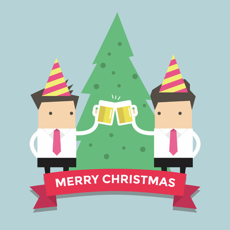 office party: Merry Chirstmas businessmen toasting glasses of beer vector