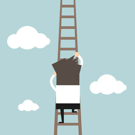 climbing ladder: Businessman climbing the ladder