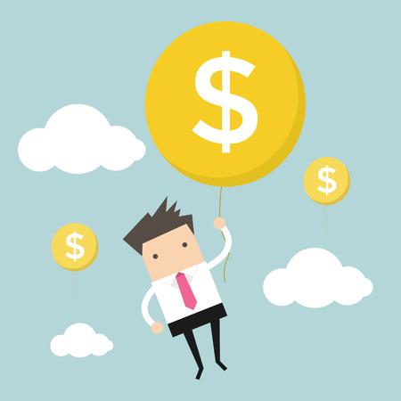 salaryman: Businessman hanging money balloon
