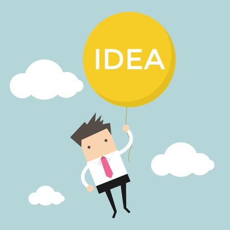 salaryman: Businessman hanging idea balloon Illustration