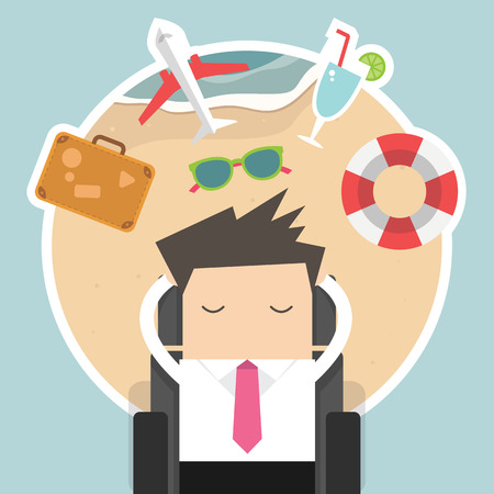 office manager: Businessman dreaming about his vacation