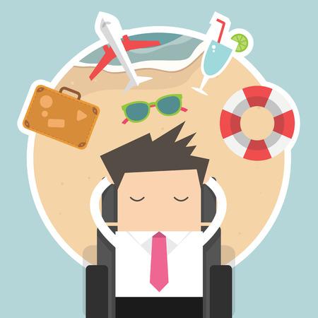 operarios trabajando: Hombre de negocios soñando con sus vacaciones