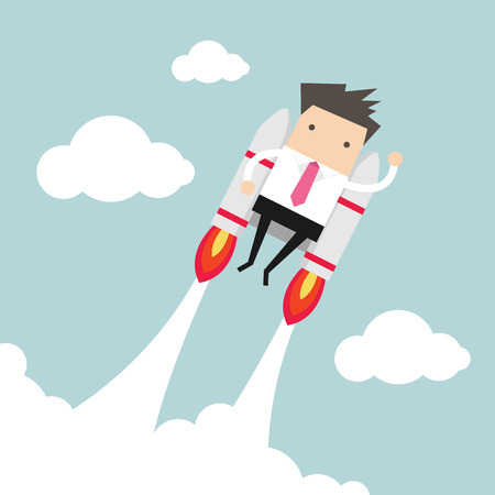 cartoon rocket: Flying businessman with jetpack Illustration