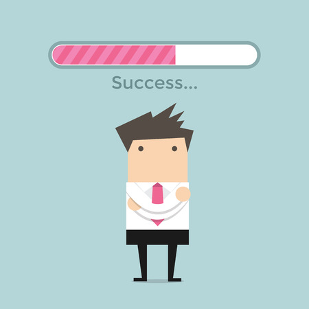 bar: Businessman and success loading bar Illustration