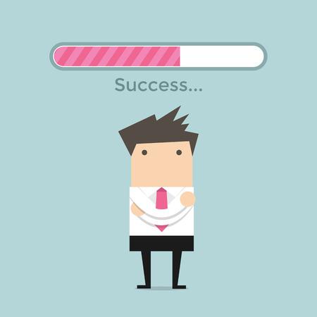progress bar: Businessman and success loading bar Illustration