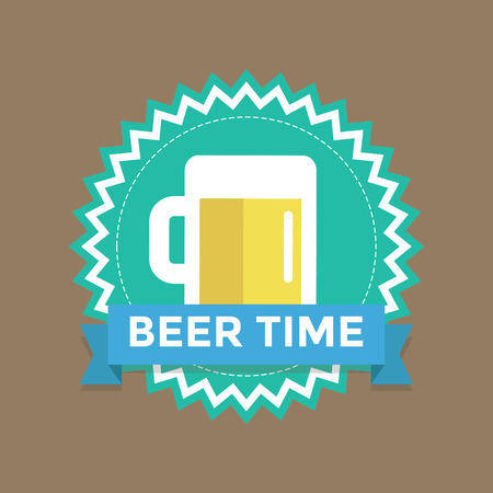 happyhour: Label with text beer time