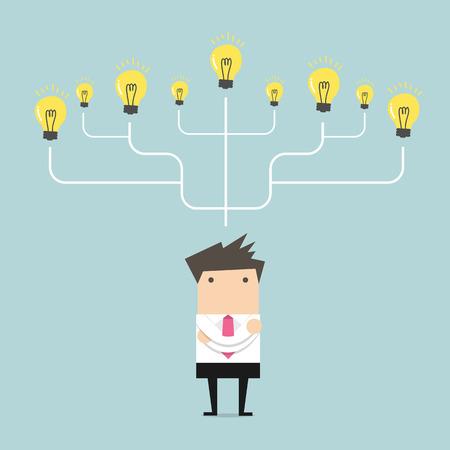 Businessman many idea to success concept
