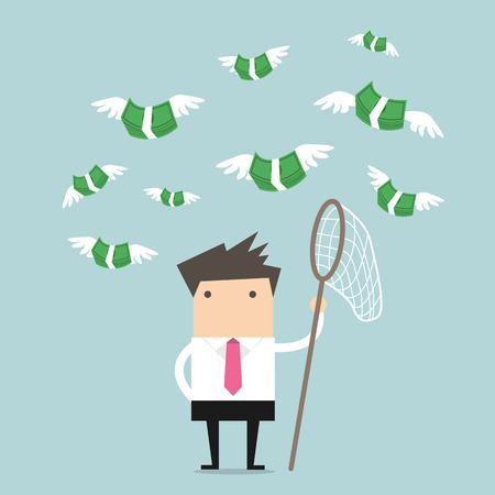 mosca caricatura: Hombre de negocios Concepto tratando de atrapar moscas dinero Vectores