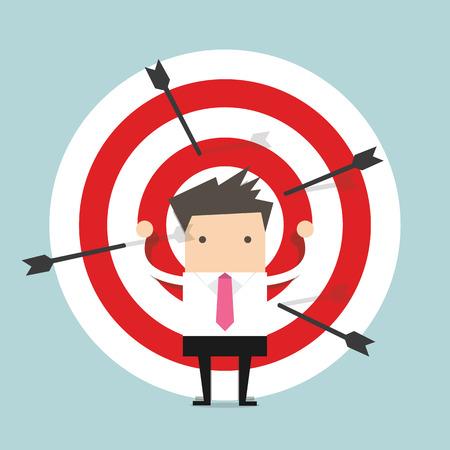 targets: Businessman on archery targets Illustration