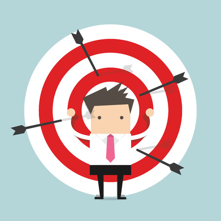 Businessman on archery targets Illustration