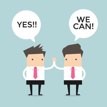 Twee business mannen geven elkaar een high five
