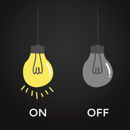naive: on and off bulb electric over black background