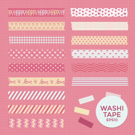 masking: Vector Collection of Cute Patterned Washi Tape Strips Illustration