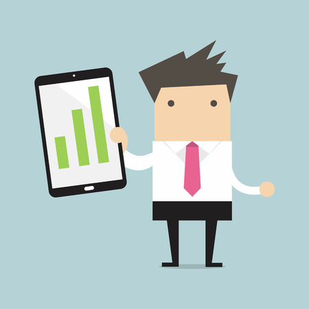 salaryman: Businessman holding a tablet with growing graph vector