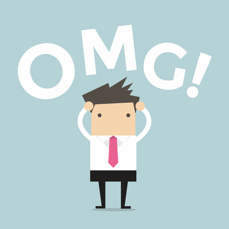 disconcert: Businessman says oh my god!
