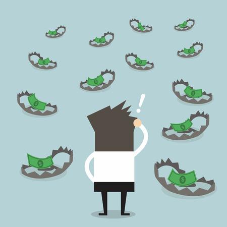 bear trap: Businessman look at money on trap Illustration