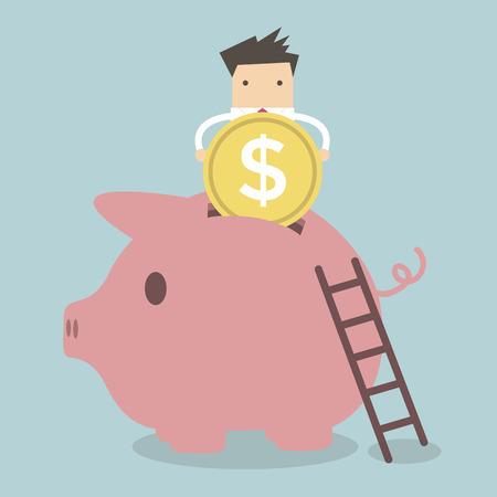 insert: Businessman putting coin into piggy bank