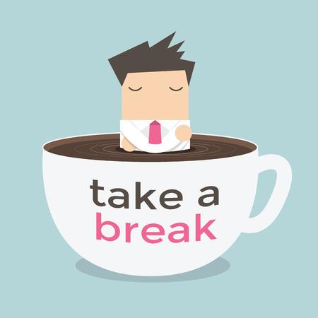 break in: Businessman take a break in a coffee cup.