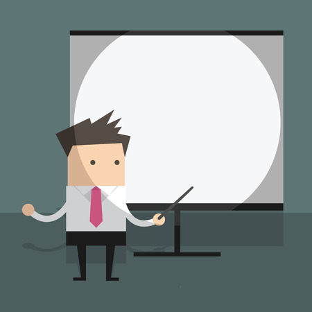 businessman with projector screen. Vector