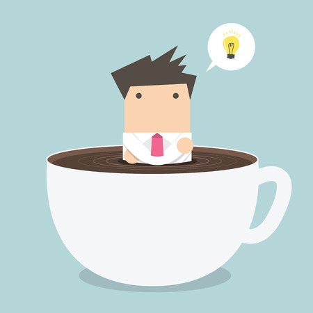 businessman thinking in a coffee cup Vectores