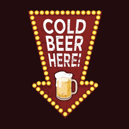Weinlese-Metall-Zeichen Cold Beer Here Illustration