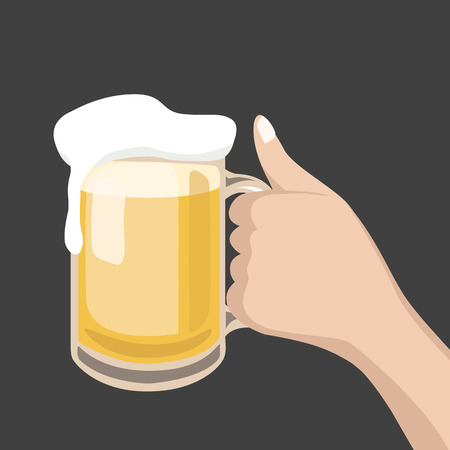 overflow: Hand hold a glass of beer Illustration