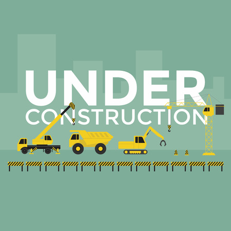 building site: Construction site crane building Under Construction text vector Illustration