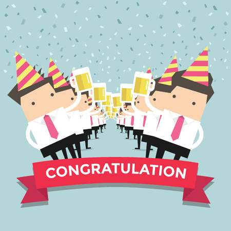 Businessman Congratulation party vector Vector