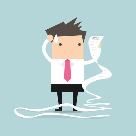 pagando: Hombre de negocios con papel de facturación muy largo