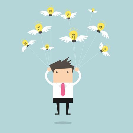easiness: Businessman fly with idea bulb