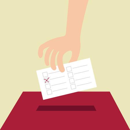 plebiscite: Vote ballot with box. Vector illustration, flat design