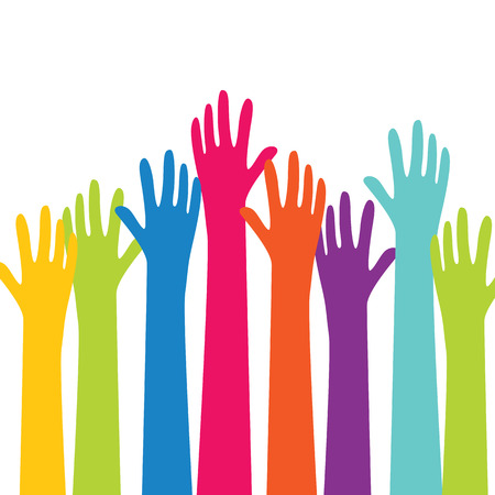 arms raised: Colorful hands up vector