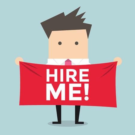 Homme d'affaires tenant une banderole pour l'embauche Banque d'images - 39312117