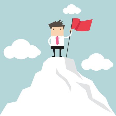 mountain climber: Businessman go to the top of mountain Illustration