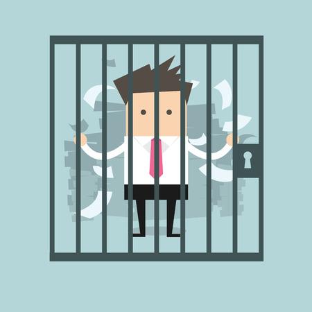 刑務所のビジネスマン  イラスト・ベクター素材
