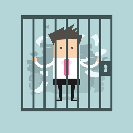 gefangene: Geschäftsmann im Gefängnis Illustration