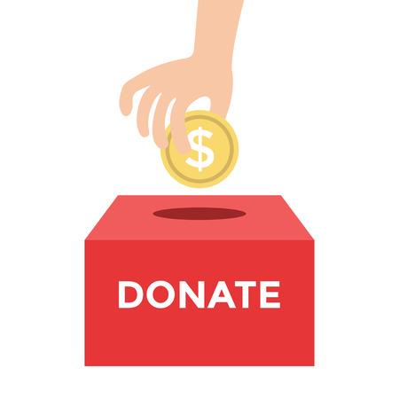 signo pesos: Donar dinero a la ilustraci�n de la Caridad Concept Vector