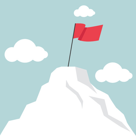 personal growth: Flag marks the top of the mountain landscape vector illustration