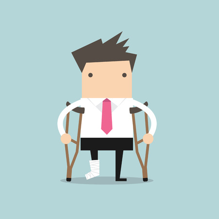 cartoon accident: Businessman injured standing with crutches and showing cast on a broken leg for health insurance or rehabilitation concept design