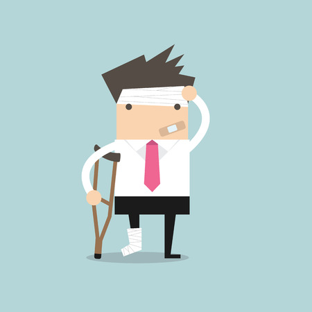Businessman injured standing with crutches and showing cast on a broken leg for health insurance or rehabilitation concept design