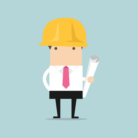 investor: Architect or engineer in yellow safety helmet with building project blueprints rolls for investor presentation on construction industry concept design Illustration