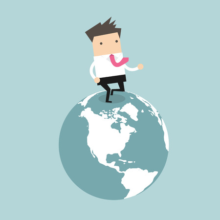 Businessman running on the globe. business innovation and Development concept