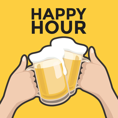 hands  hour: Happy hour toasting with beer