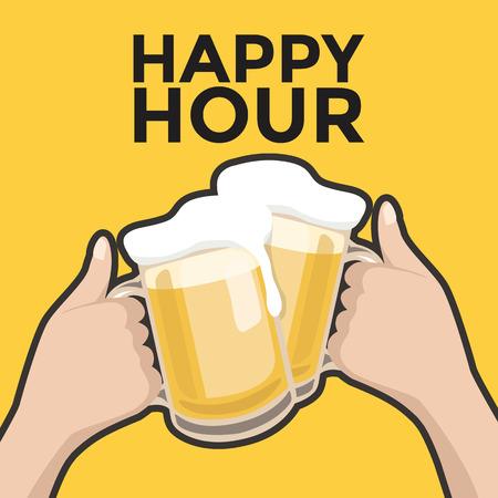 Hora feliz brindando con cerveza Ilustración de vector