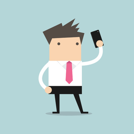 Businessman taking selfie using a mobile phone Illustration