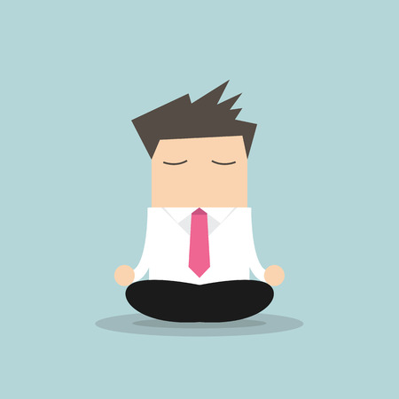 Businessman yoga relaxing during hard workday Çizim